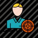 focus, goal, man, target icon
