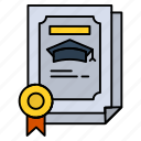 achievement, certificate, degree, graduate icon