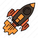 business, goal, launch, mission, spaceship, startup icon
