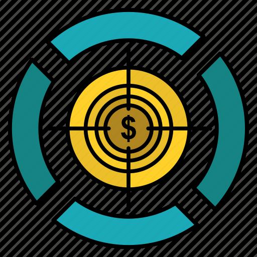 dart, dollar, focus, target icon