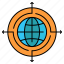 connected, focus, globe, target icon