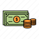 business, coins, dollar, finance, money icon