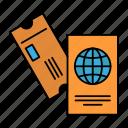 business, passport, tickets, travel, vacation icon