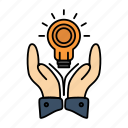 bulb, business, hand, idea, marketing, solution icon