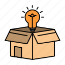 box, bulb, business, idea, solution