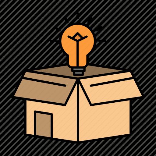 box, bulb, business, idea, solution icon