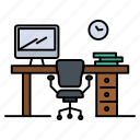 chair, office, room, space, table icon