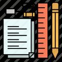 notepad, pen, pencil, pin, stationary