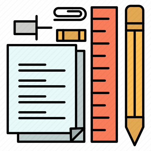 notepad, pen, pencil, pin, stationary icon