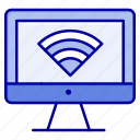 computer, monitor, signal, wifi icon