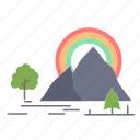 hill, landscape, mountain, nature, rainbow