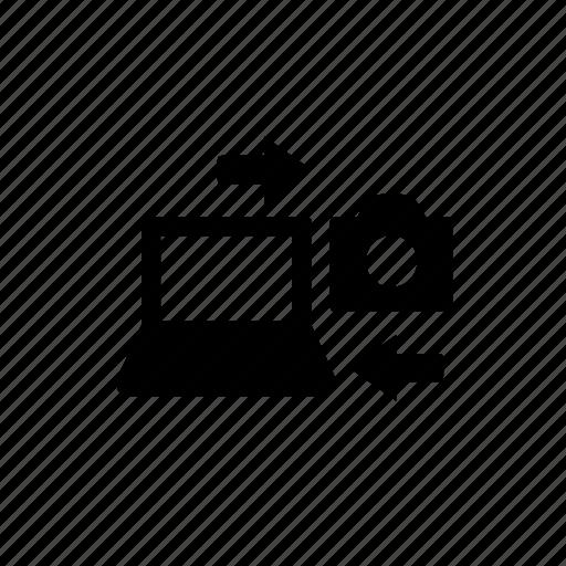 camera, computer, device, laptop, transfer icon
