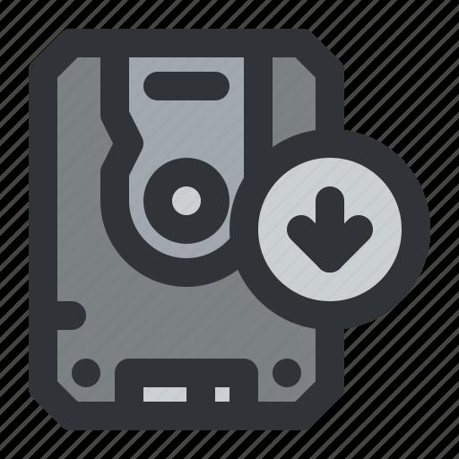 arrow, computer, device, disk, download, storage icon