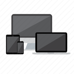 computer, devices, laptop, phone, shadow, tablet icon