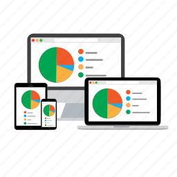 adaptive, chart, devices, pie chart, responsive icon