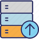 database, rack uploading, server uploading, uploading, web hosting icon