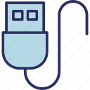 connection, data cable, data wire, usb cable, usb plug cable icon