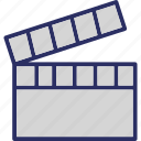 clapboard, clapperboard, film board, movie board icon