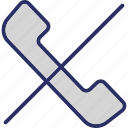 call, call blocked, call cancelled, call dropped, call hangup icon