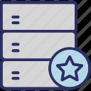database, server, star, web hosting, web server icon