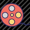 film reel, film strip, movie reel, movie strip, reel icon