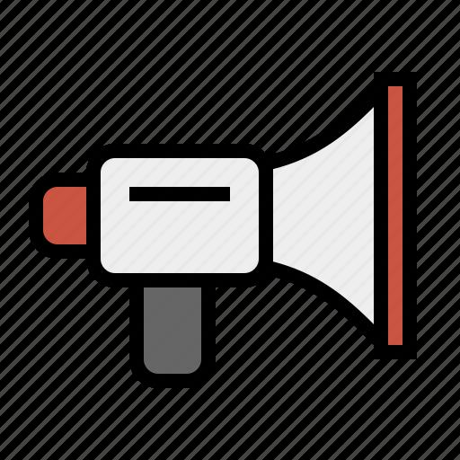 announcement, bullhorn, device, marketing, media, megaphone, seo icon