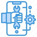 device, hand, online, service, technology icon