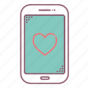 devices, heart, love, mobile, phone, sign, smartphone icon