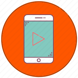 arrow, devices, mobile, phone, play, sign, smartphone icon