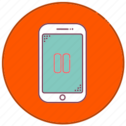 devices, mobile, music, pause, phone, sign, smartphone icon