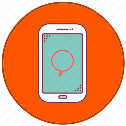 devices, message, mobile, phone, sign, smartphone, speech icon