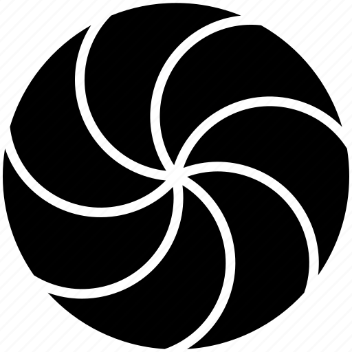 circle, divided, iris, spiral, swirl icon