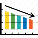 analytics, arrow, bar, bear market, business, chart, diagram icon