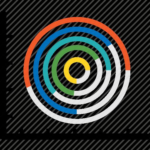 aim, analytics, arrows, bar, chart, cicle, diagram icon
