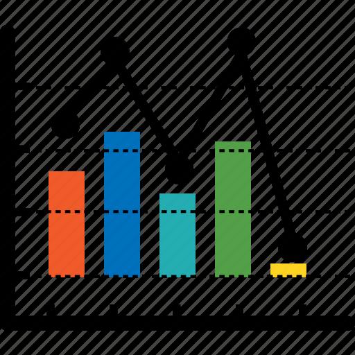 analytics, bar, business, chart, diagram, down tendency, finance icon