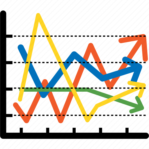 analytics, analytics graph, arrow, bar, bull market, chart, colorful icon