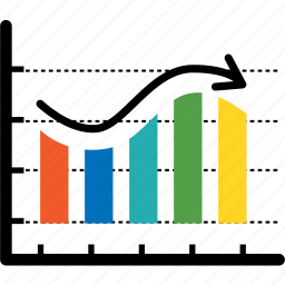 analytics, arrow, chart, colorful, curve bar, diagram icon