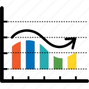 analytics, arrow, bar, chart, colorful, curve bar, diagram icon