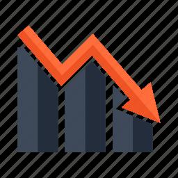 analytics, arrow, business, diagram, down, graph, statistics icon