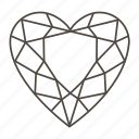 diamond, diamond shape, heart, love, romantic, valentine's icon