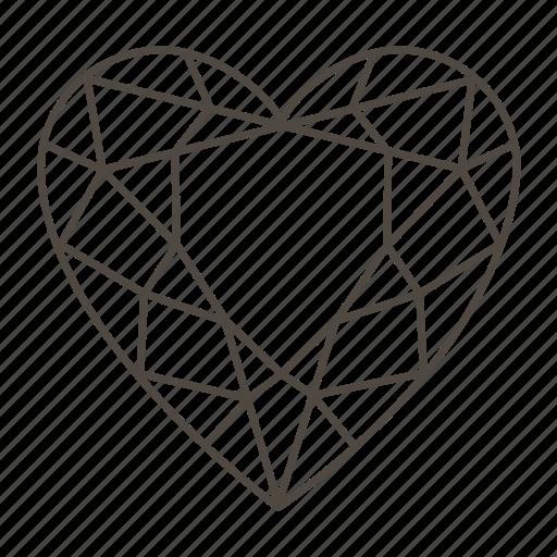 diamond, diamond shape, heart, love, romantic, valentine's icon