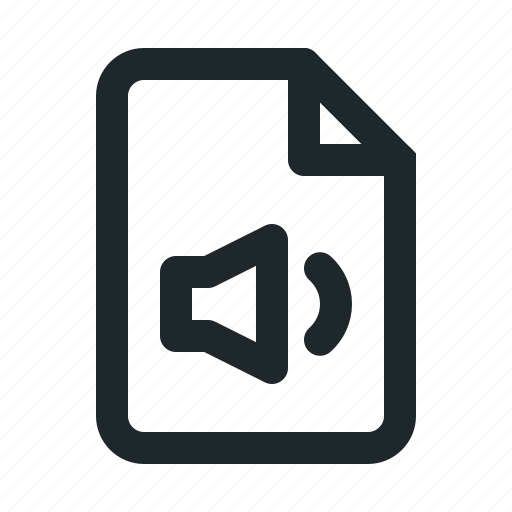 audio, document, file, format, paper, sound icon