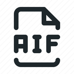 aif, audio, document, file, format, paper icon