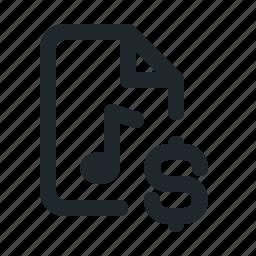audio, document, dollar, file, format, money icon