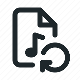audio, document, file, format, paper, reload icon
