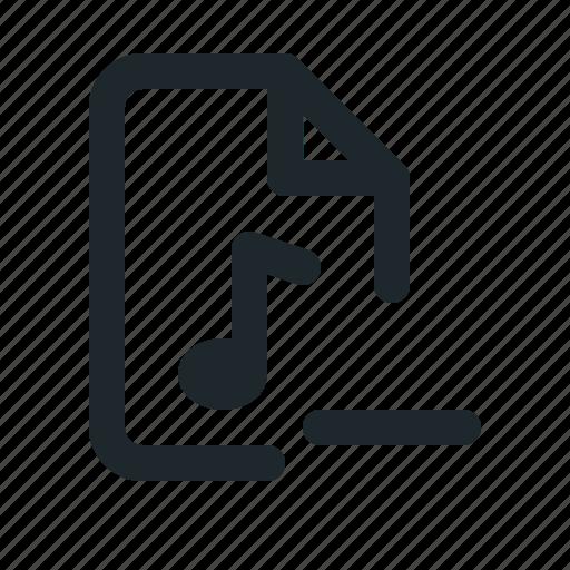 audio, document, file, format, paper, remove icon