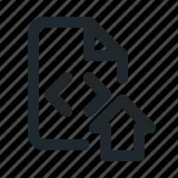 coding, file, home icon