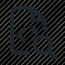 coding, file, search icon