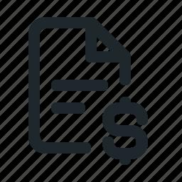 file, money icon