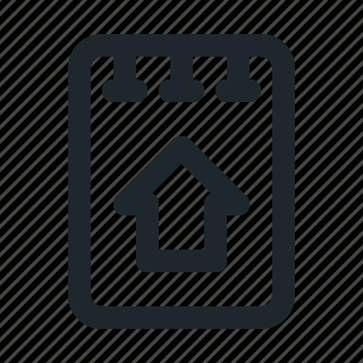file, home, note icon